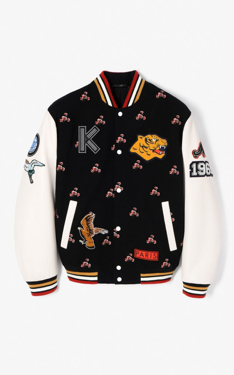 BLACK 'May Flowers' Embroidered Varsity Jacket for men KENZO