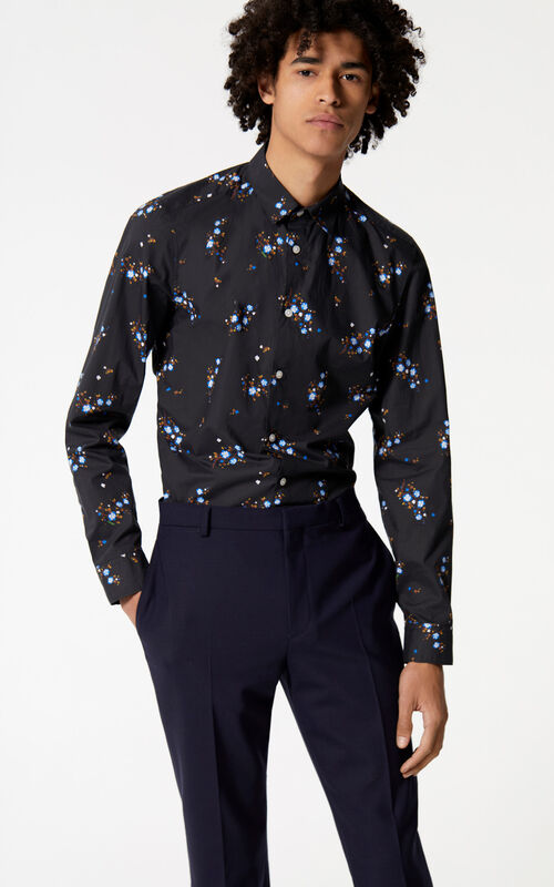 BLACK 'Cheongsam Flower' shirt for men KENZO