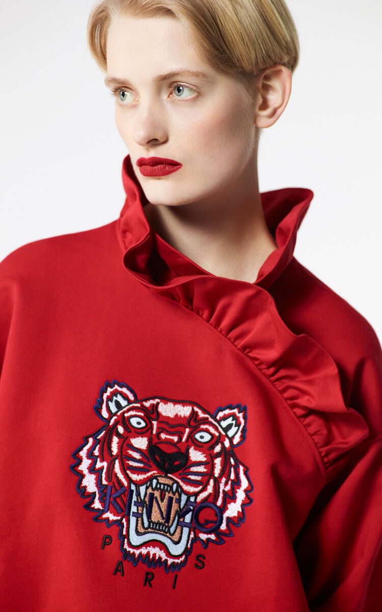 MEDIUM RED Frilled Tiger sweatshirt for women KENZO