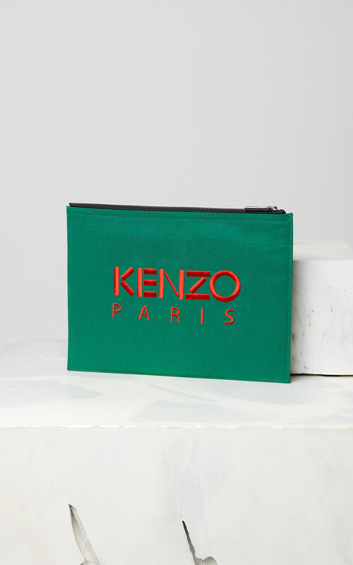 GRASS GREEN A4 Tiger Canvas clutch for unisex KENZO