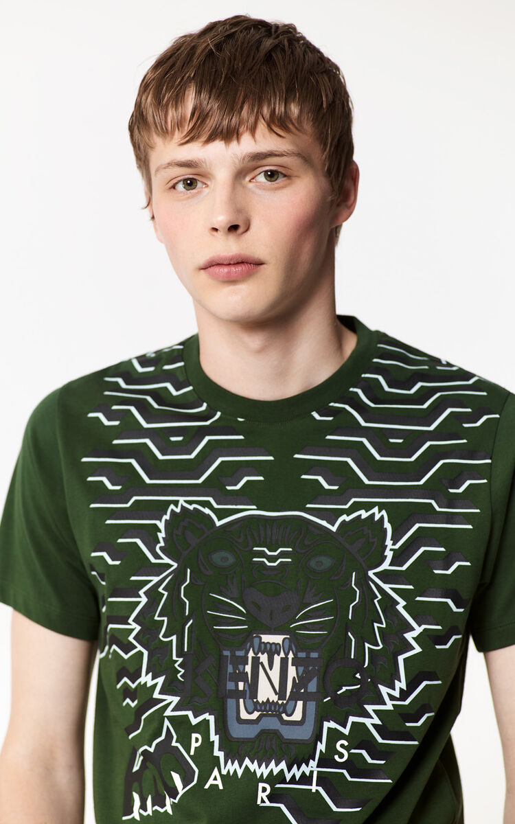 DARK KHAKI Geo Tiger T-shirt for men KENZO