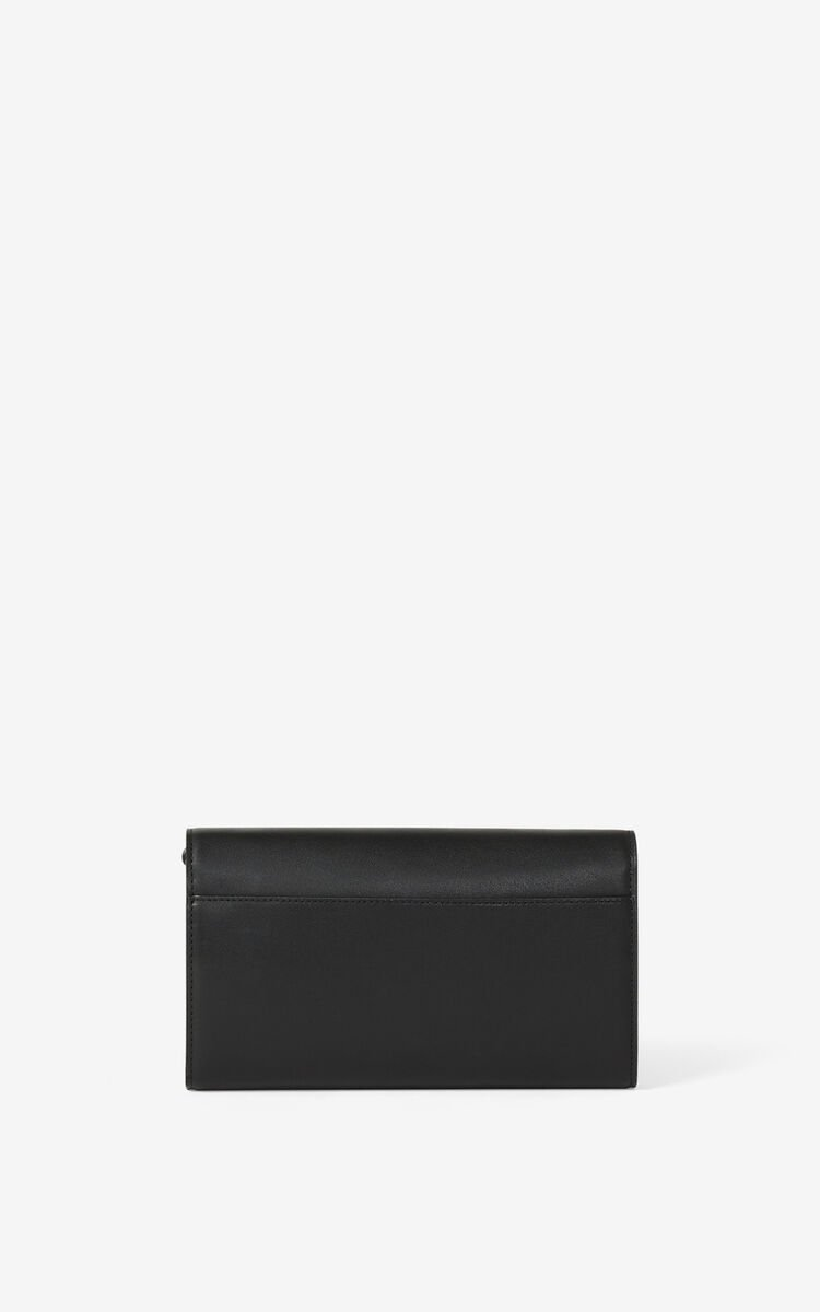 BLACK KENZO K leather wallet on a chain    for women