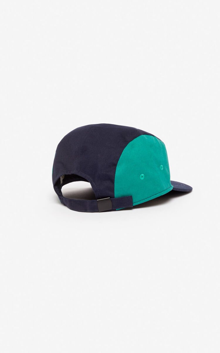 NAVY BLUE KENZO colourblock cap for men