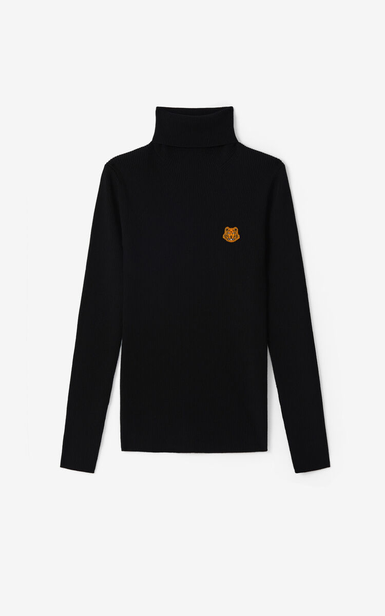BLACK Tiger Crest roll-neck jumper for women KENZO