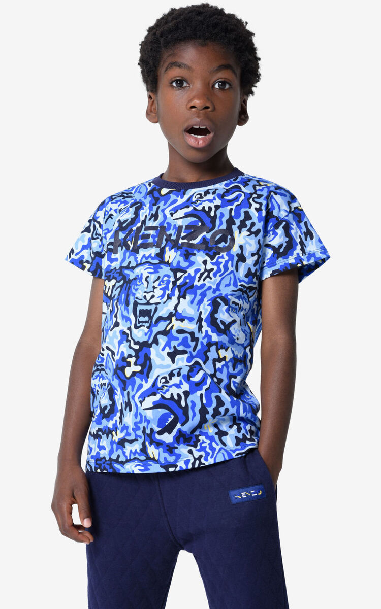 NAVY BLUE KENZO t-shirt with camouflage logo for men