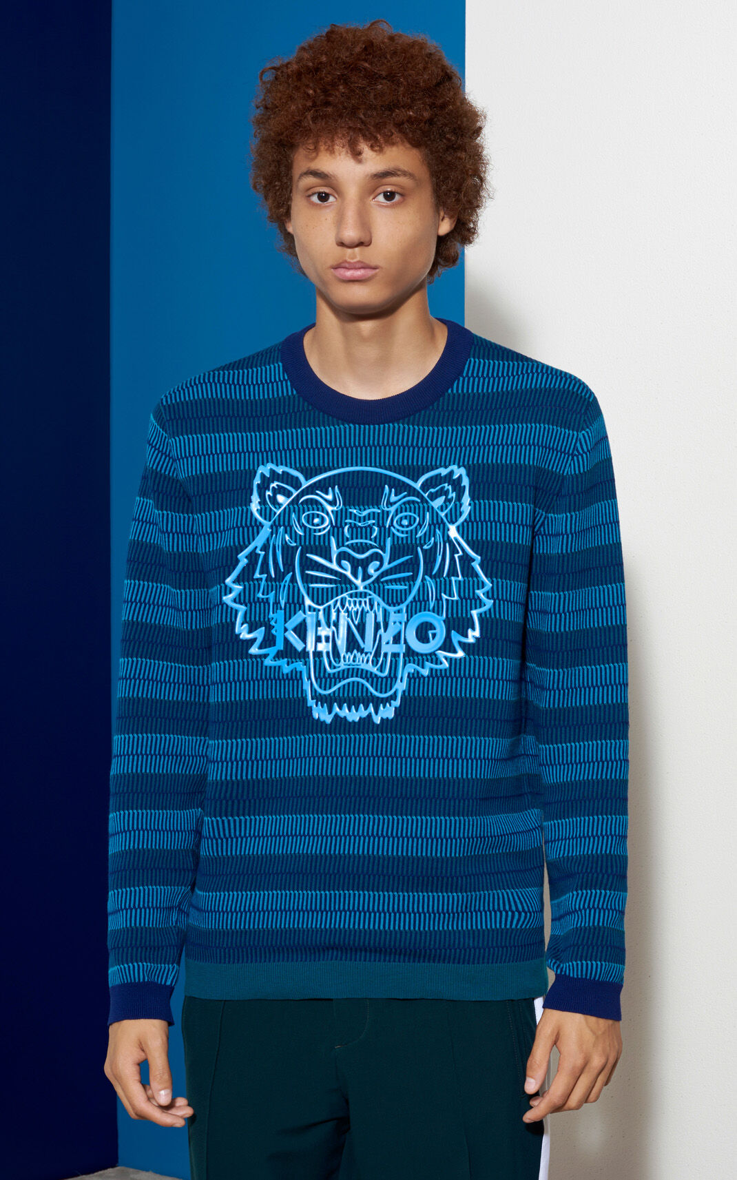 MIDNIGHT BLUE Silicon Tiger Sweater for men KENZO