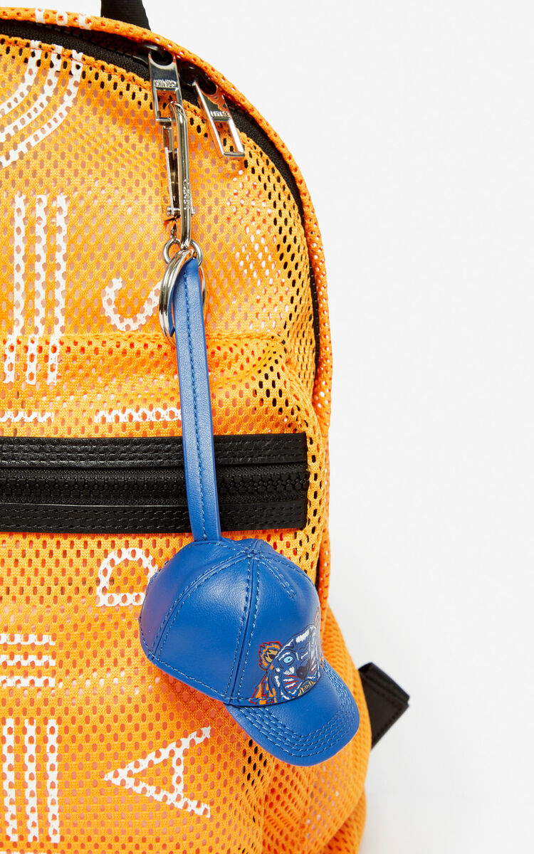 COBALT Tiger cap leather bag charm for men KENZO