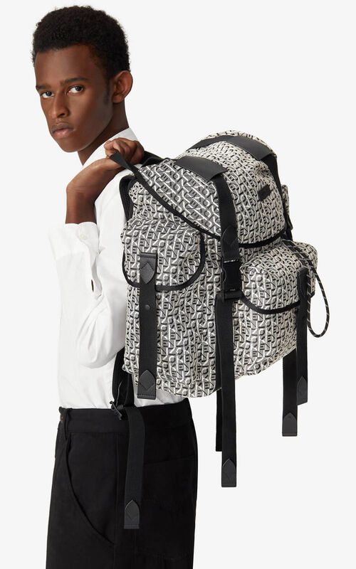MISTY GREY Courier jacquard backpack with flap for men KENZO
