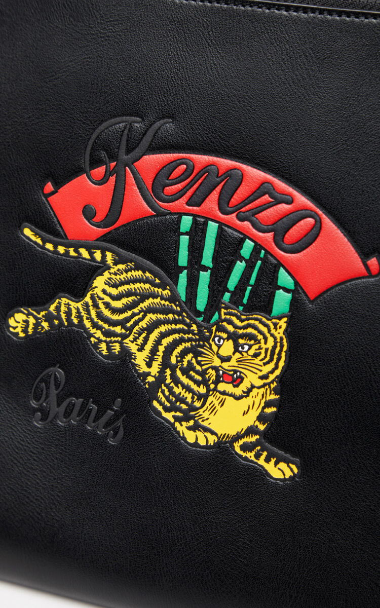 BLACK A4 'Jumping Tiger' leather clutch  for unisex KENZO