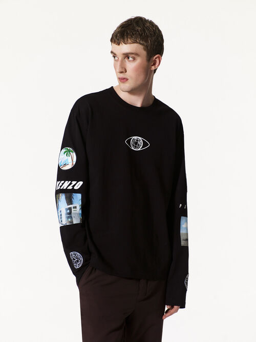 BLACK Long Sleeves T-shirt with Badges for men KENZO
