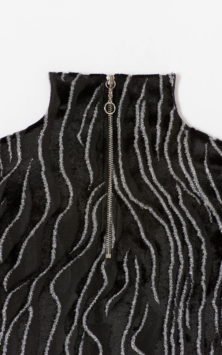 BLACK Turtleneck with shiny thread detail for women KENZO