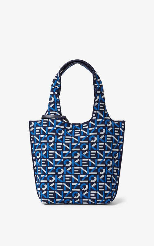 MIDNIGHT BLUE Skuba small monogram tote bag for unisex KENZO