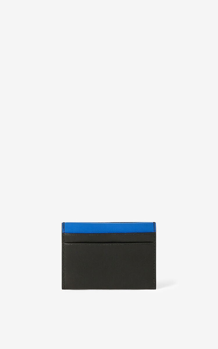 BLACK Leather Ekusson Tiger card holder    for unisex KENZO