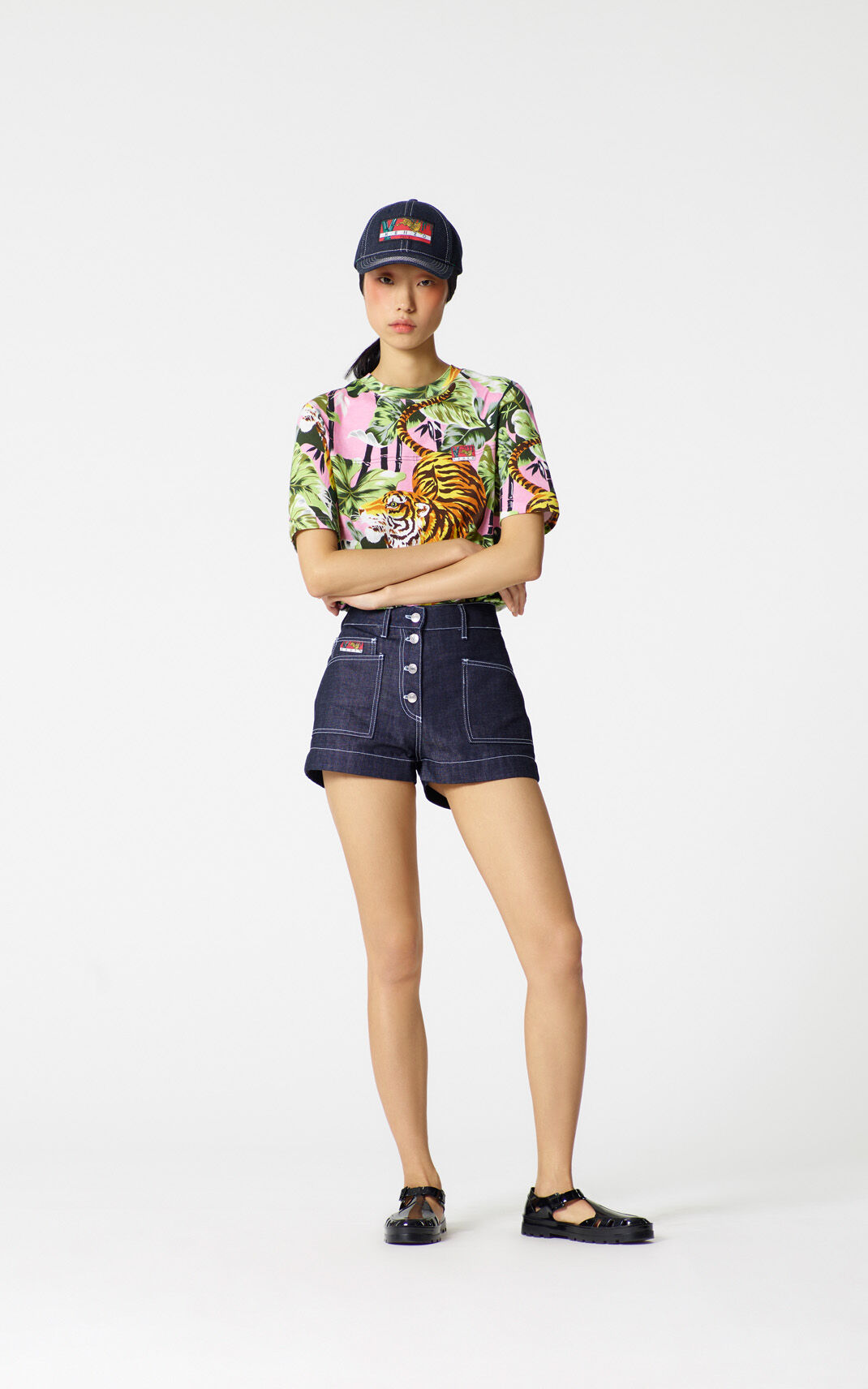 NAVY BLUE Denim shorts for women KENZO