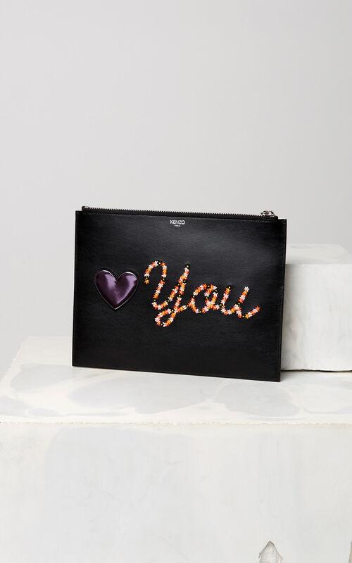 BLACK 'Valentine's Day Capsule' A4 Eye clutch for unisex KENZO
