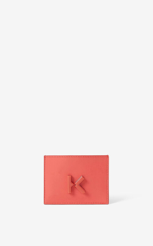 PEACH KENZO K leather card holder  for unisex