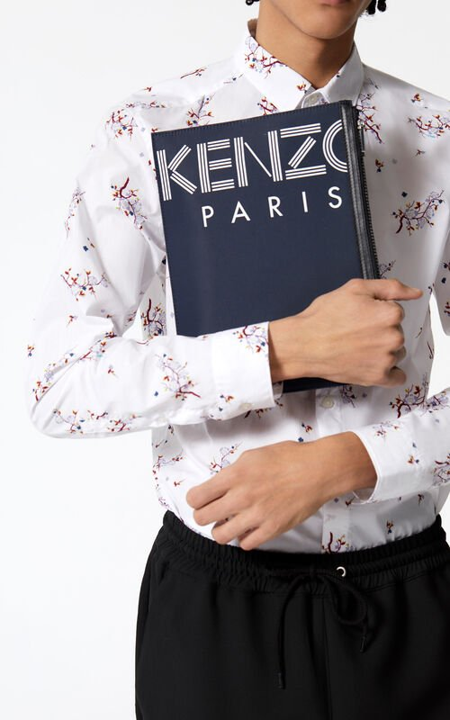 NAVY BLUE A4 KENZO Logo clutch for men