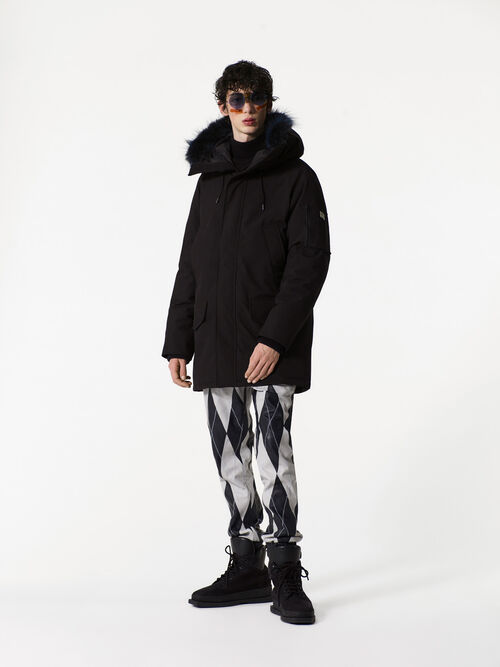 BLACK Long Fur parka for men KENZO