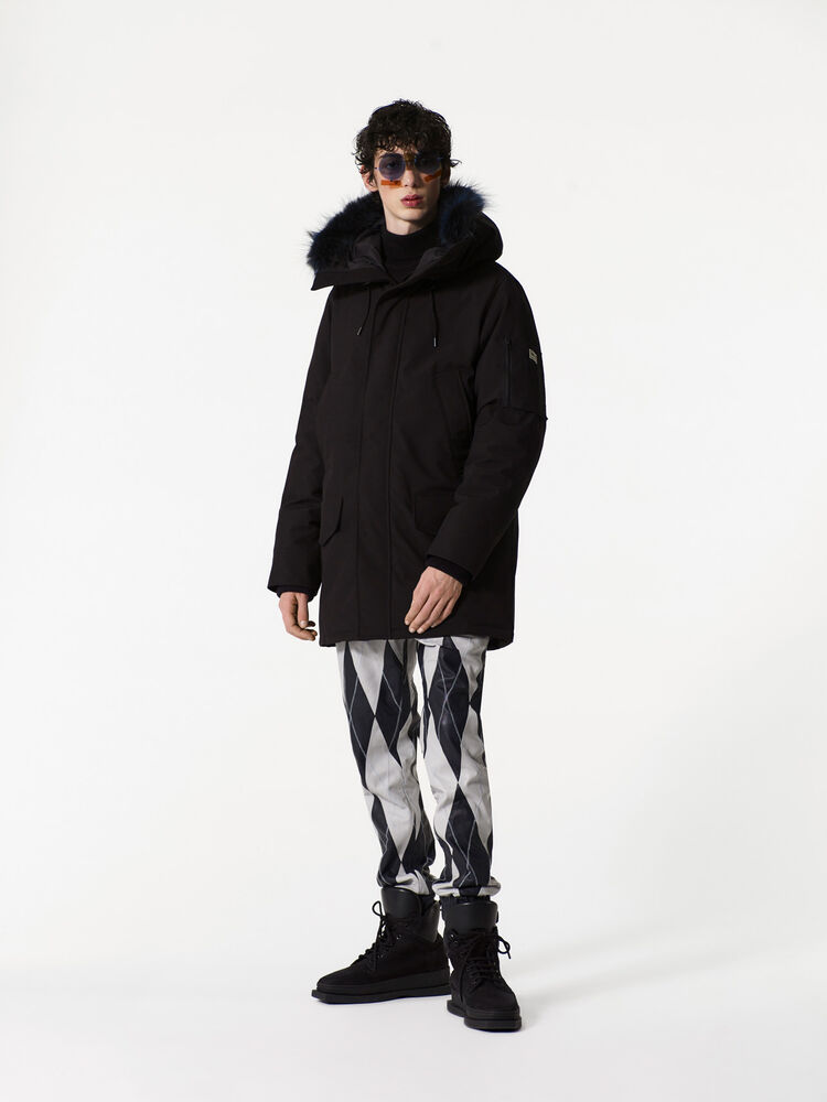 BLACK Long Fur parka for women KENZO