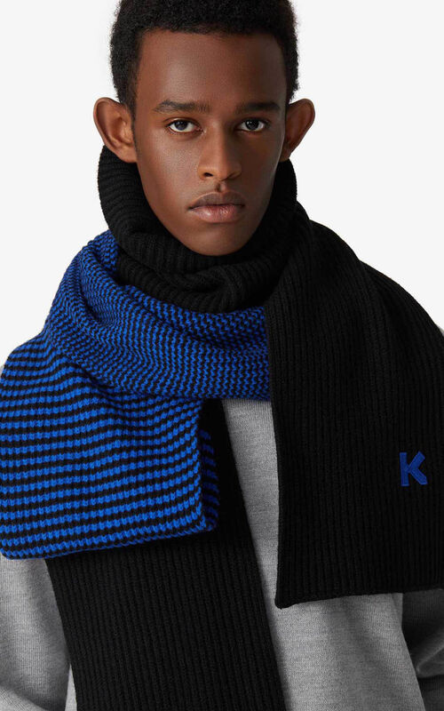 ROYAL BLUE Wool scarf for men KENZO