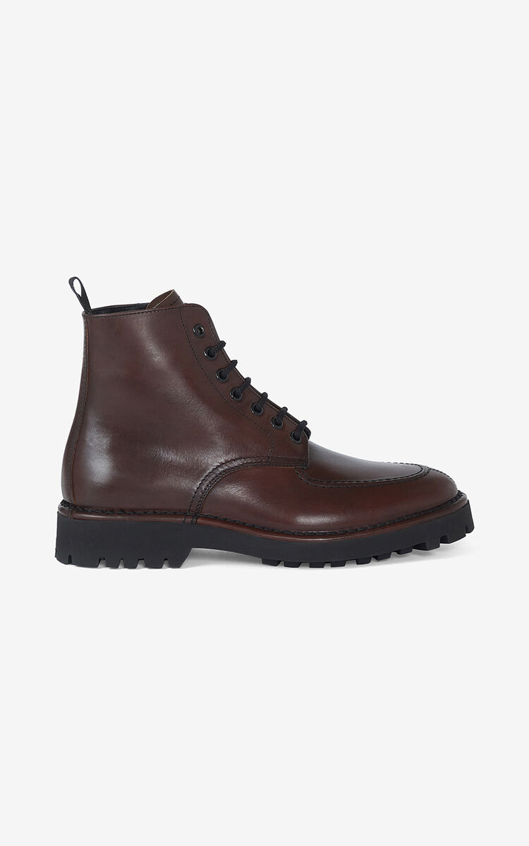 DARK BROWN K-Mount leather ankle boots for unisex KENZO