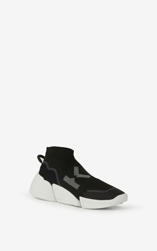 BLACK K-Sock K Logo laceless sneakers for unisex KENZO