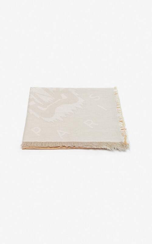 DARK BEIGE Large two-tone Tiger scarf for unisex KENZO