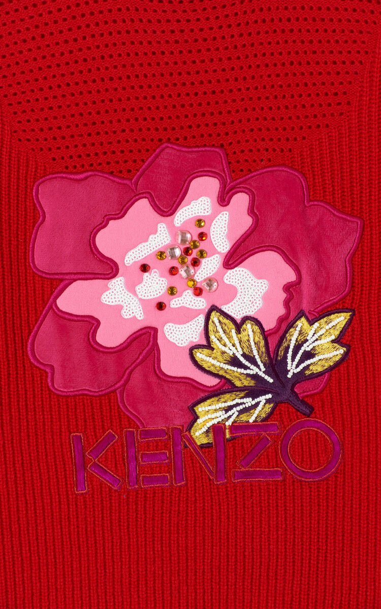 MEDIUM RED 'Indonesian Flower' jumper for women KENZO