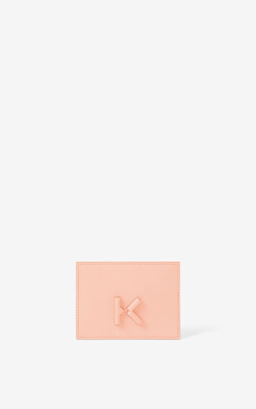 FADED PINK KENZO K leather card holder for men