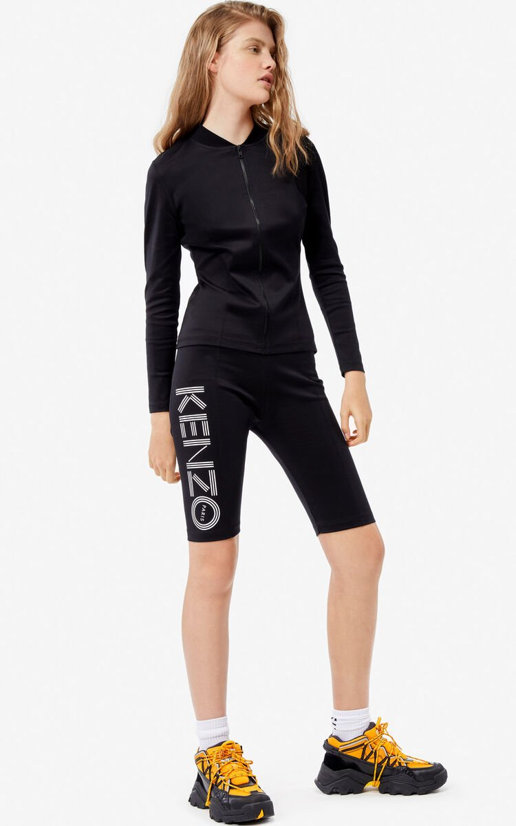 BLACK KENZO logo cycle shorts for women
