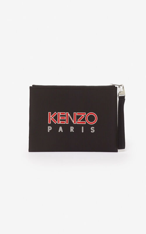 BLACK Tiger A4 neoprene clutch for unisex KENZO