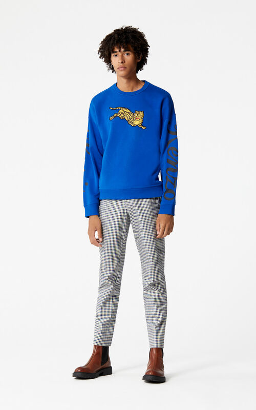 FRENCH BLUE 'Jumping Tiger' sweatshirt for men KENZO