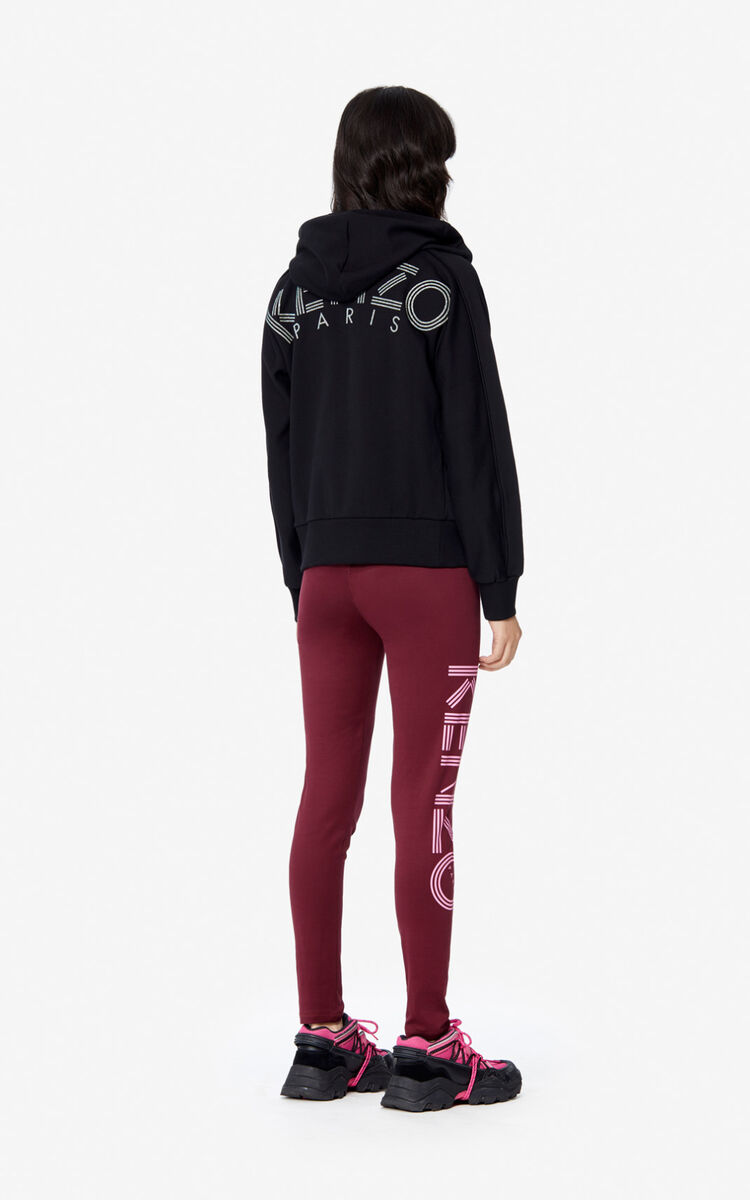 BLACK Hooded KENZO Logo zipped sweatshirt for women
