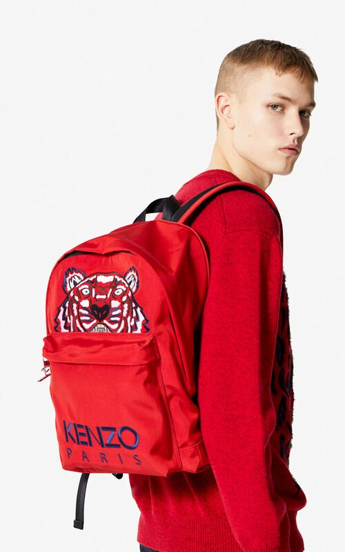 MEDIUM RED Large Tiger Canvas backpack for women KENZO