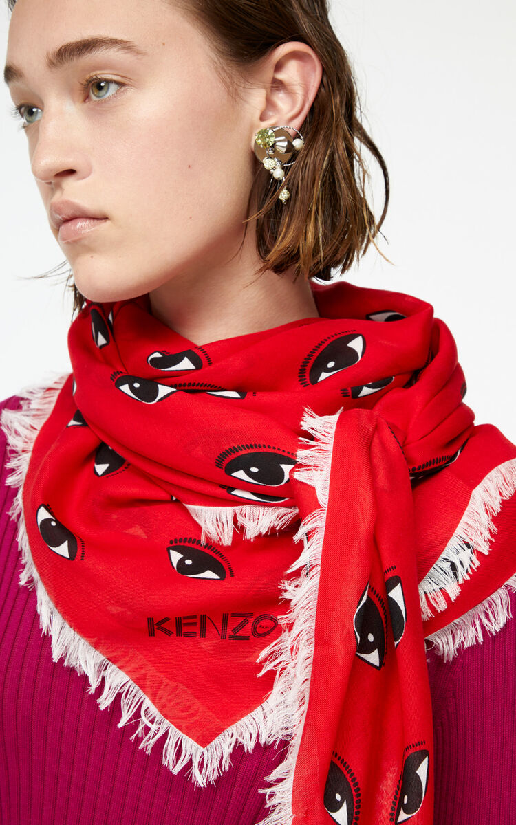 MEDIUM RED Large multi eye scarf for women KENZO