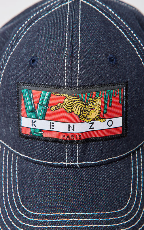 NAVY BLUE Denim 'Bamboo Tiger' baseball cap for unisex KENZO