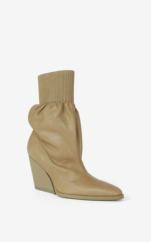OLIVE Billow leather ankle boots for unisex KENZO