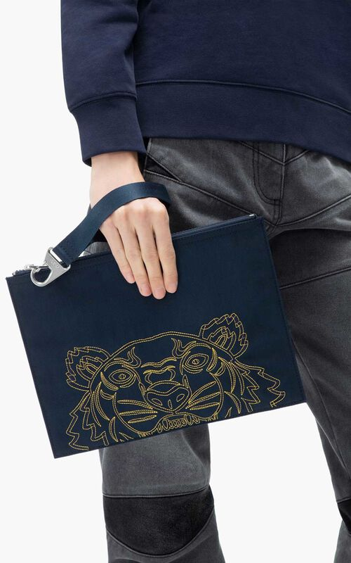 NAVY BLUE Large Kampus Tiger pouch for men KENZO