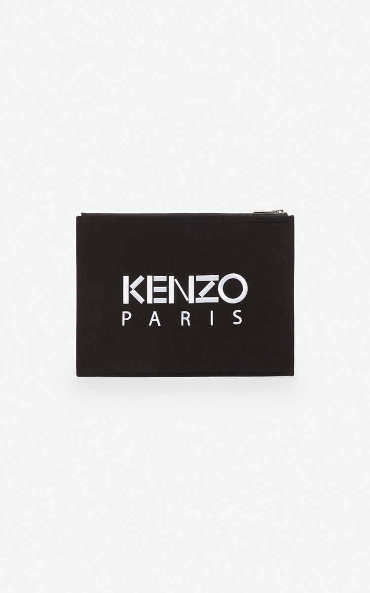 BLACK A4 Tiger clutch for men KENZO