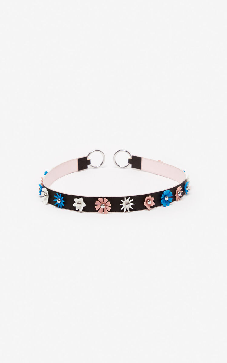 BLACK 'Flowers' leather shoulder strap for women KENZO