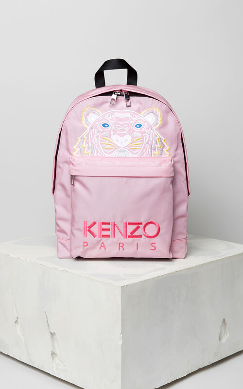 FLAMINGO PINK Large Tiger Canvas backpack for women KENZO