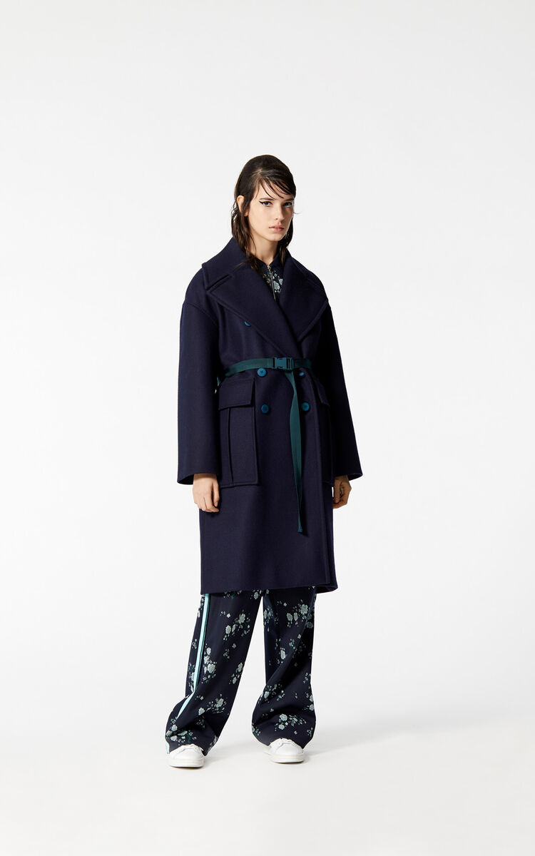 NAVY BLUE Straight-cut wool coat for women KENZO