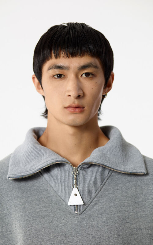 PALE GREY Zipped collar jumper for men KENZO