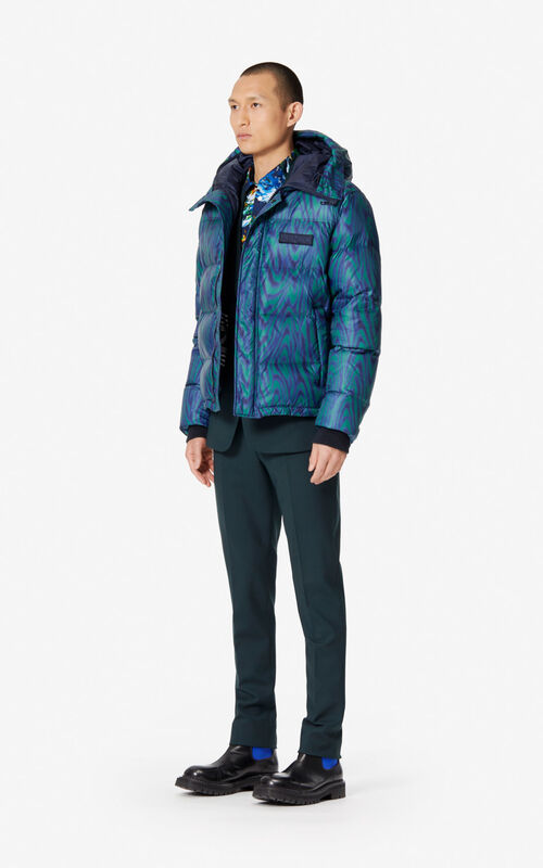 PINE 'Moire Tiger' hooded padded puffer jacket for men KENZO