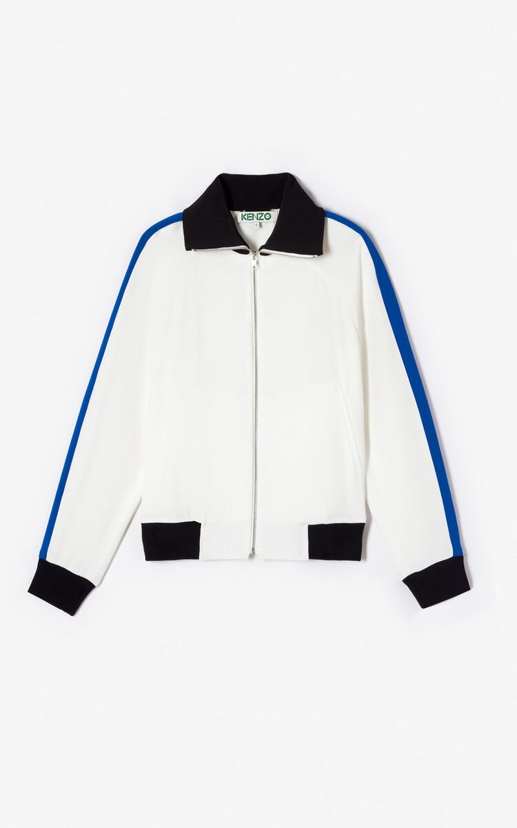 WHITE 'Bamboo Tiger' crepe bomber jacket for women KENZO