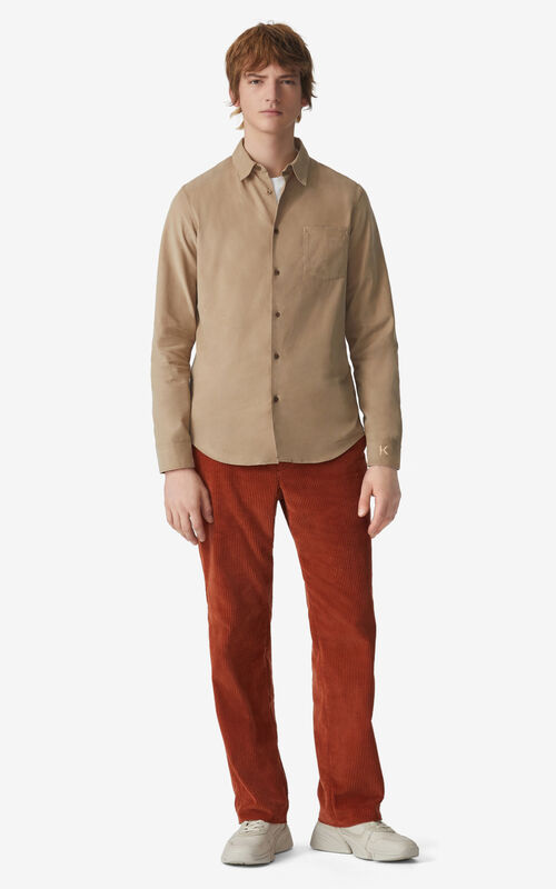 DARK BEIGE Slim-fit shirt for men KENZO