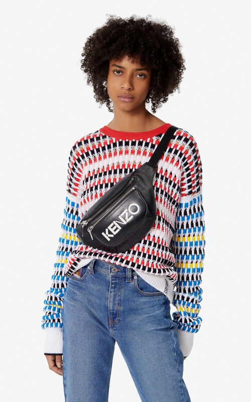 BLACK KENZO logo leather bumbag for women