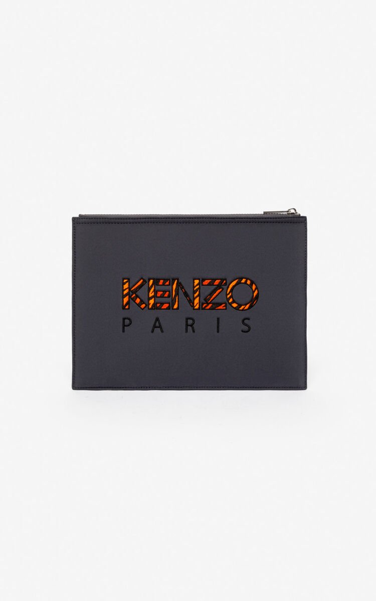 ANTHRACITE Tiger A4 clutch in neoprene for unisex KENZO