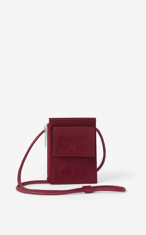 CARMINE Canvas Kampus Tiger card holder with long strap for unisex KENZO