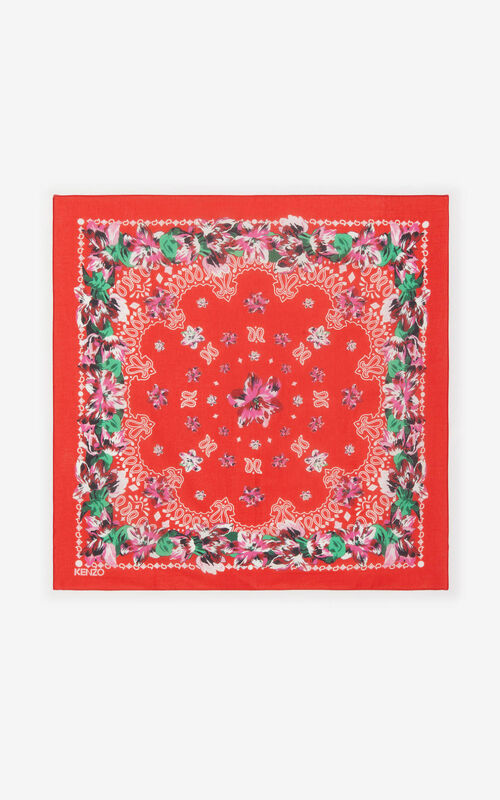 MEDIUM RED Floral bandana scarf KENZO